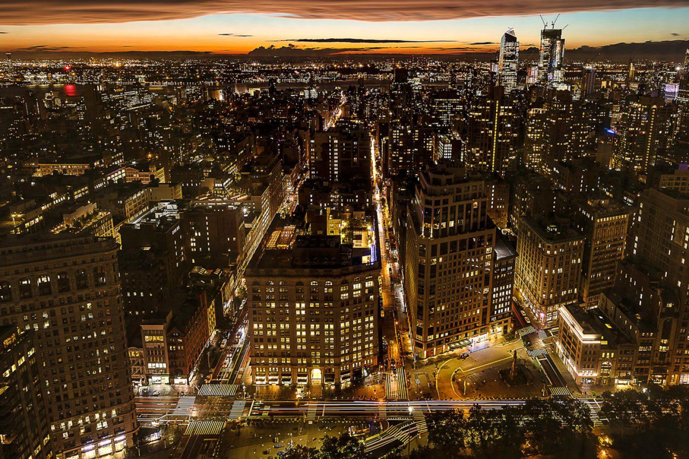 Skyline von Manhatten in der Nacht